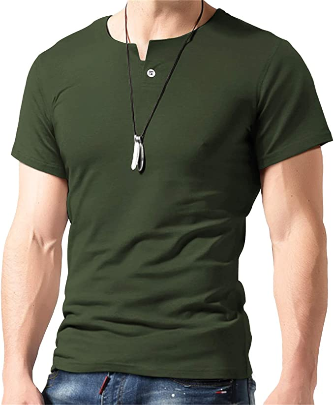Aiyino Mens Casual Slim Fit Single Button Long Sleeve Placket Plain Henley Top T Shirts
