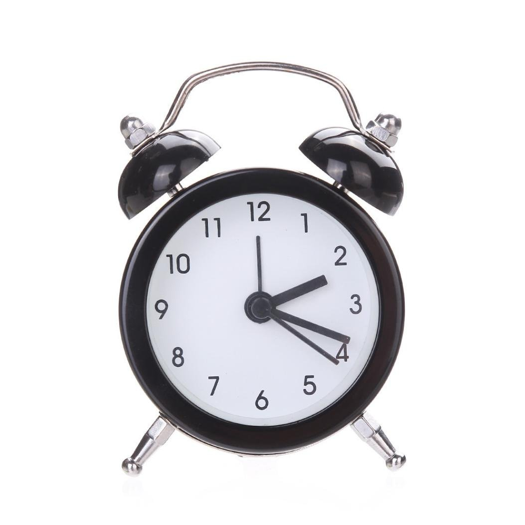 IEason Twin Bell Silent Alloy Stainless Metal Alarm Clock (Black)