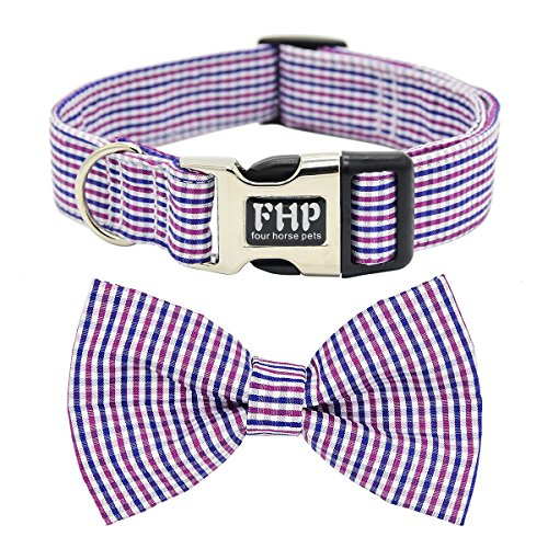 Fourhorse Cute Soft Dog And Cat Collar with Bowtie, Detachable Adjustable Bow Tie Collar Pet Gift (S, Red Grid)