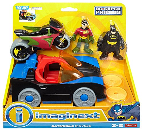 Fisher-Price Imaginext DC Super Friends Batmobile & Cycle (Fisher Price Little People Marvel)