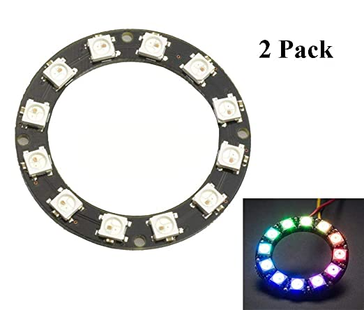 ARCELI 2pcs 12 Bit WS2812 5050 RGB LED Ring with Integrated