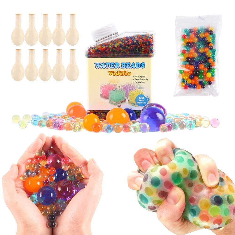 Pack de 50.000 perlas de hidrogel pequeñas, 160 perlas tamaño extragrande y 10 globos. Perlas de hidrogel de distintos colores, bolas de gel para decoración y juguetes sensoriales. (A) Vidillo
