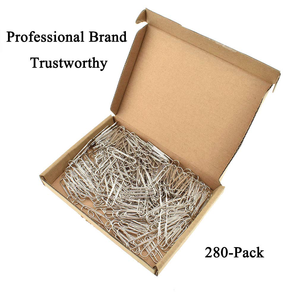 """HAHIYO Paper Clips Sturdy 1 3""""(33mm) Length 280 Pack Paperclips Heavy Duty  Tight Grip Rust Proof Reusable Metal Bright Silver for Home Office School"""