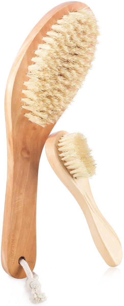 JUVITUS Natural Bristles Dry Body Brush + Extreme Exfoliating Face Brush Set