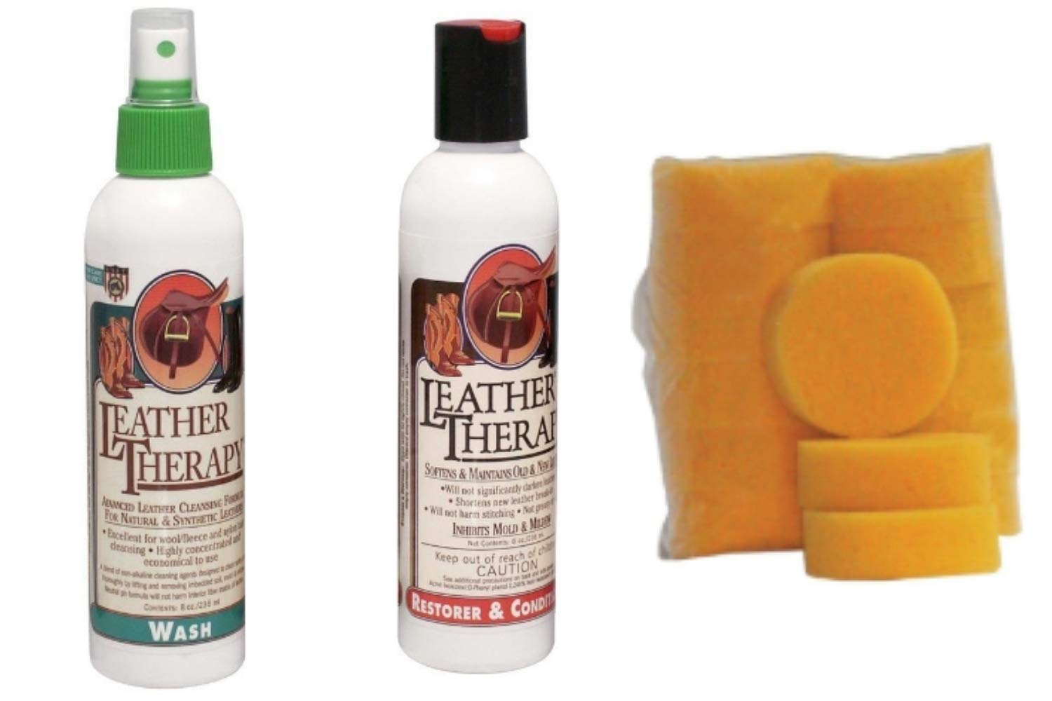 Pacific FireBrands Leather Saddle Wash, Leather Conditioner and Tack Sponges Bundle by Pacific FireBrands