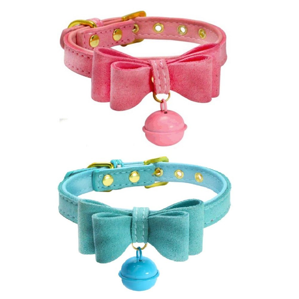 Stock Show 2Pcs Pet Dog Cat Bowtie Collar with Bell Adjustable PU Leather Cute Necklace Bowknot Collar for Small Dog Puppy Cat Kitten Kitty, Pink&Blue