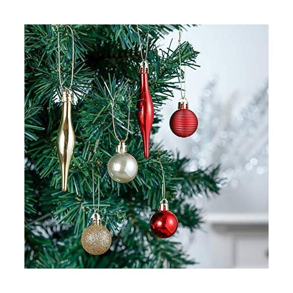 Valery Madelyn Palle di Natale 52 Pezzi di Palline di Natale, 3-5 cm Rosso e Oro Infrangibile Ornamenti di Palla di Natale Decorazione per la Decorazione Dell'Albero di Natale 6 spesavip