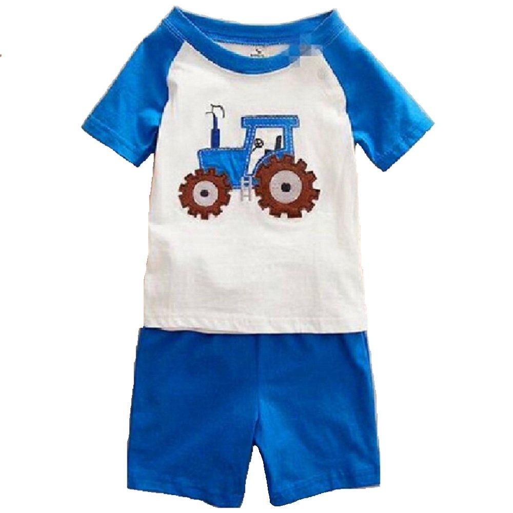 Hooyi Baby Boy Sleepwear Cotton Children Short Sleeve Tractor Pajamas Set