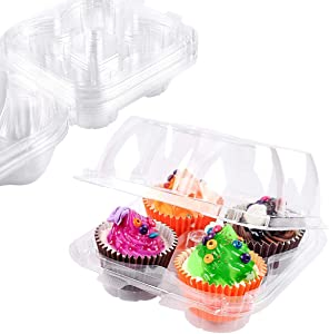 4 Cavity Cupcake Containers, Disposable Clear Plastic Cupcake Carrier with Lids Stackable Deep Dome Cup Cake Boxes Extra Sturdy Cupcake Transport Packaging - 10 Pcs