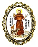 St Francis Patron of Animals Huge 2'' Antique Bronze Gold Pin Brooche