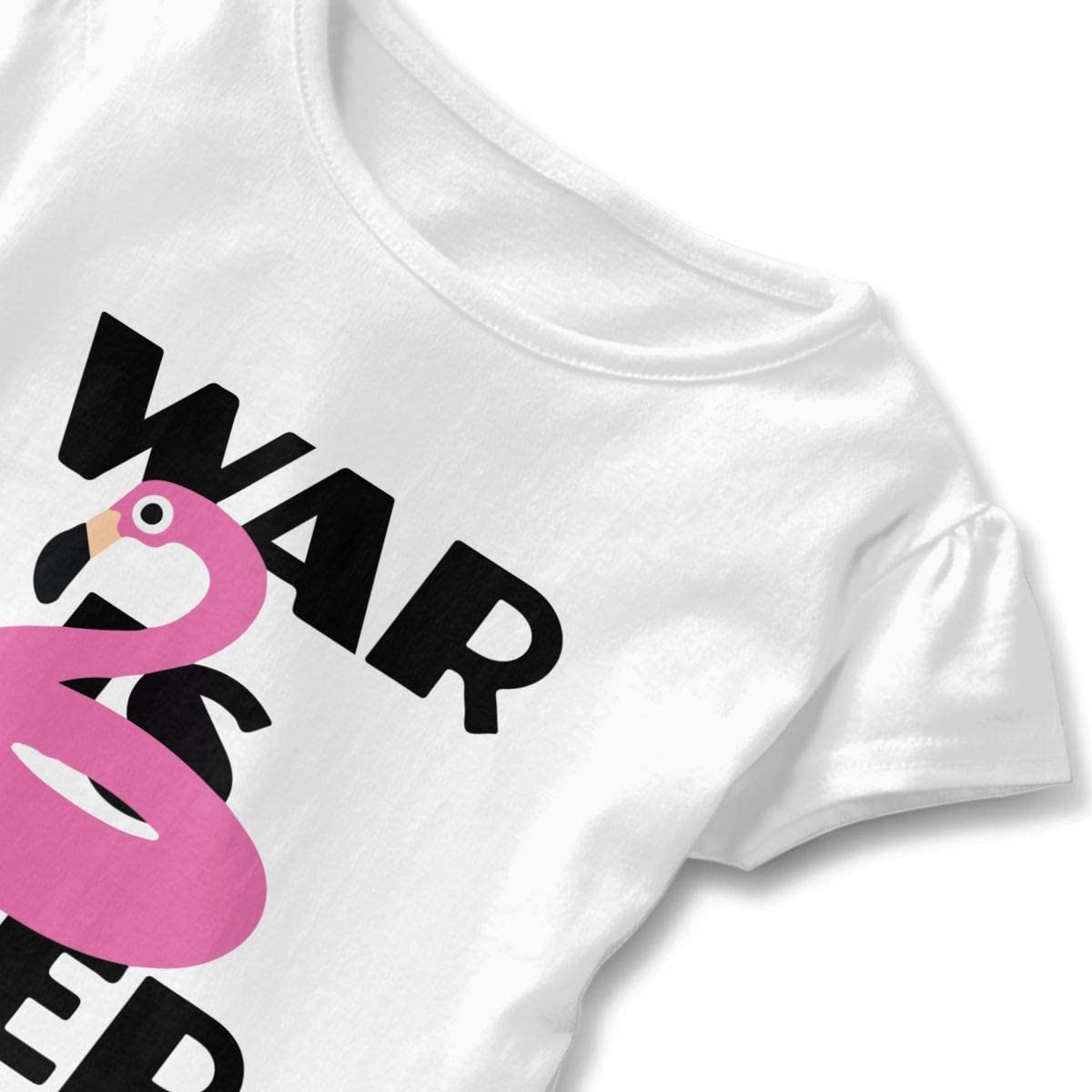 26NSHIRT War is Over Pink Pool Flamingoo Little Girls Short Sleeve Cotton Top