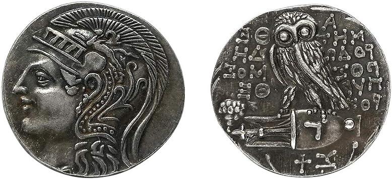 Injoyo 2 Piezas Búho Griego Antiguo Athena Moneda De Plata Diosa De La Sabiduría Colección De Monedas De Arte: Amazon.es: Juguetes y juegos
