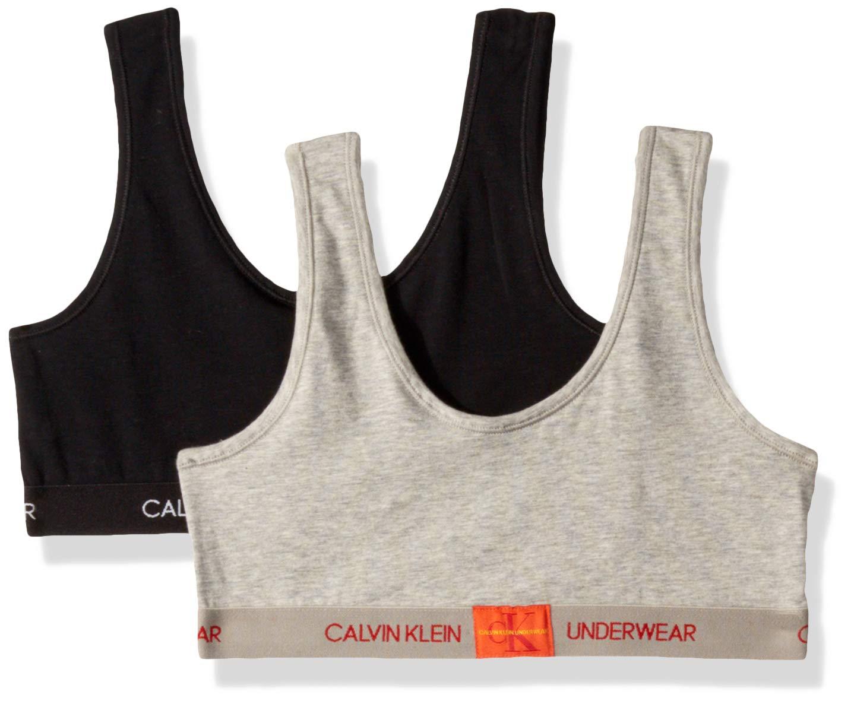 Calvin Klein  Girl's Modern Cotton Bralette Underwear, Heather Grey, black, Large, L,Little Girls by Calvin Klein