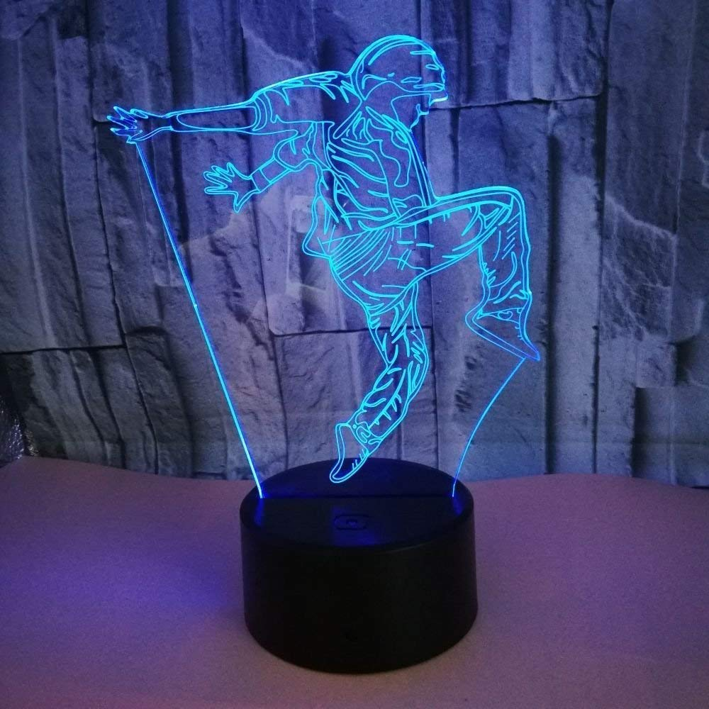 Optical Illusion 3D Dance Night Light 7 Colors Changing USB Power Touch Switch Decor Lamp LED Table Desk Lamp Children Kids Brithday Christmas Xmas Gift …