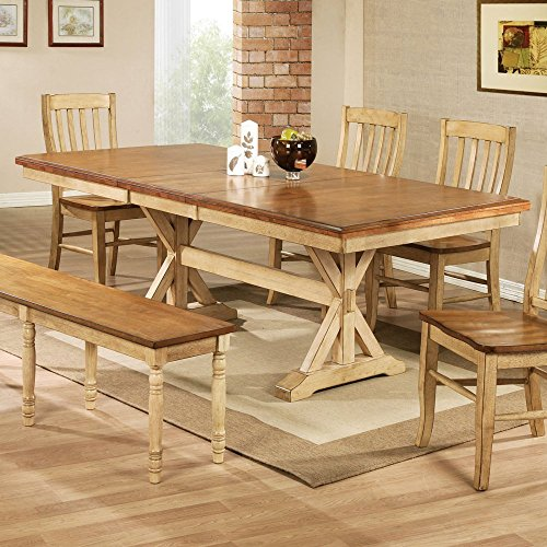 Winners Only Quails Run 84 In. Trestle Dining Table With 18 In. Butterfly  Leaf