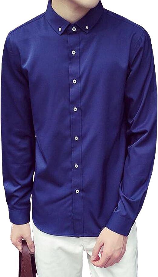 KINDOYO Mens Slim Fit Poliéster Casual Botón de Manga Larga Camisa de 2 Botones (Blanco, Negro, Azul Marino, Rojo Vino): Amazon.es: Ropa y accesorios