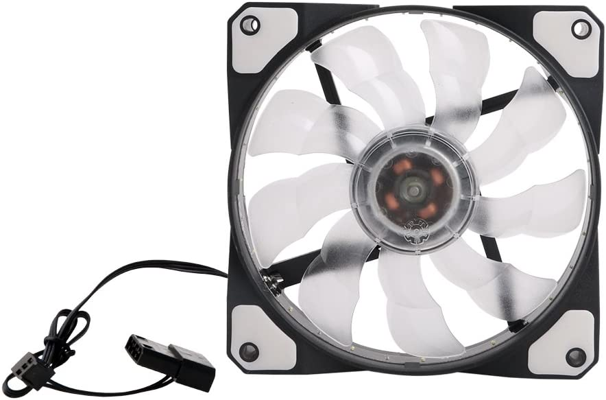 Kocome 3-Pin//4-Pin 120mm PWM PC Computer Case CPU Cooler Cooling Fan with 15 LED Light Black