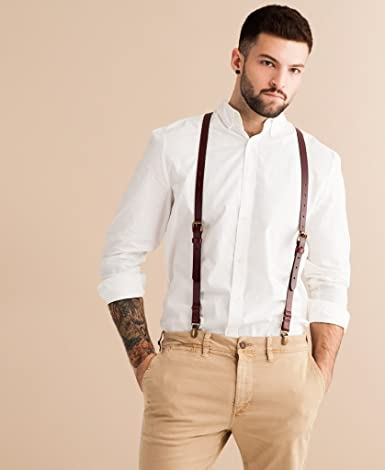 Mans Suspenders Button Suspenders for Men Mens Suspenders Gift for Husband Made in Germany Clip Suspenders Men Leather Suspenders
