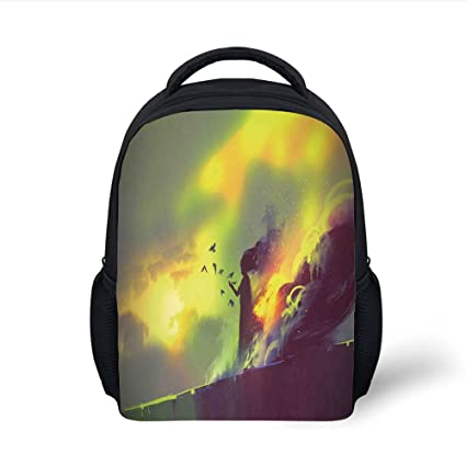 b43ee5d86e5f Amazon.com: iPrint Kids School Backpack Girls,Fiery Burnt Girl Magic ...