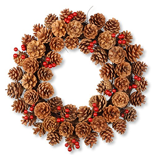 Pinecones Country Tree Mixed (National Tree 20 Inch Pinecone Wreath with Red Berries (RAHV-W060672F))