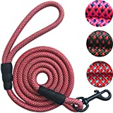 "Dog Leash Pet Training Leashes - 2/5 Inch Thick 5 Feet Long - Quality Thick Nylon - Soft Handle and Light Weight Pet Lead - for Cats and Small Medium Large Dogs (2/5"" X 5', Red)"