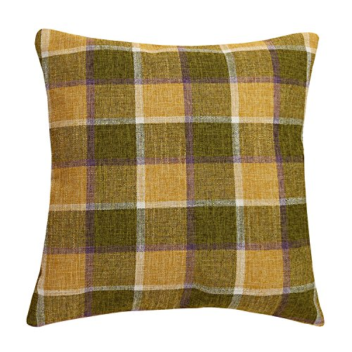 Classic Burlap Throw Pillow Cover 18x18 Yellow Buffalo Plaid Cushion Cover Pillow Sham Vintage Home Décor