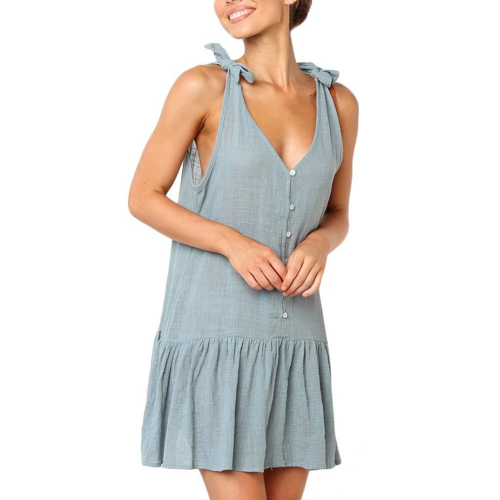 Huitian23 Women's Beach Solid Cotton Flattering A-Line Buttons Casual Mini Summer Sleeveless Dress