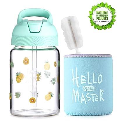 ee836b5f125 ONEISALL 400ML/14oz Kids/Child/Adult Travel Mug, Straw Bottle, Borosilicate Glass  Water Bottle, Tea, Coffee, Juice, Milk, Hot/Iced Drinking Tumbler Cup with  ...