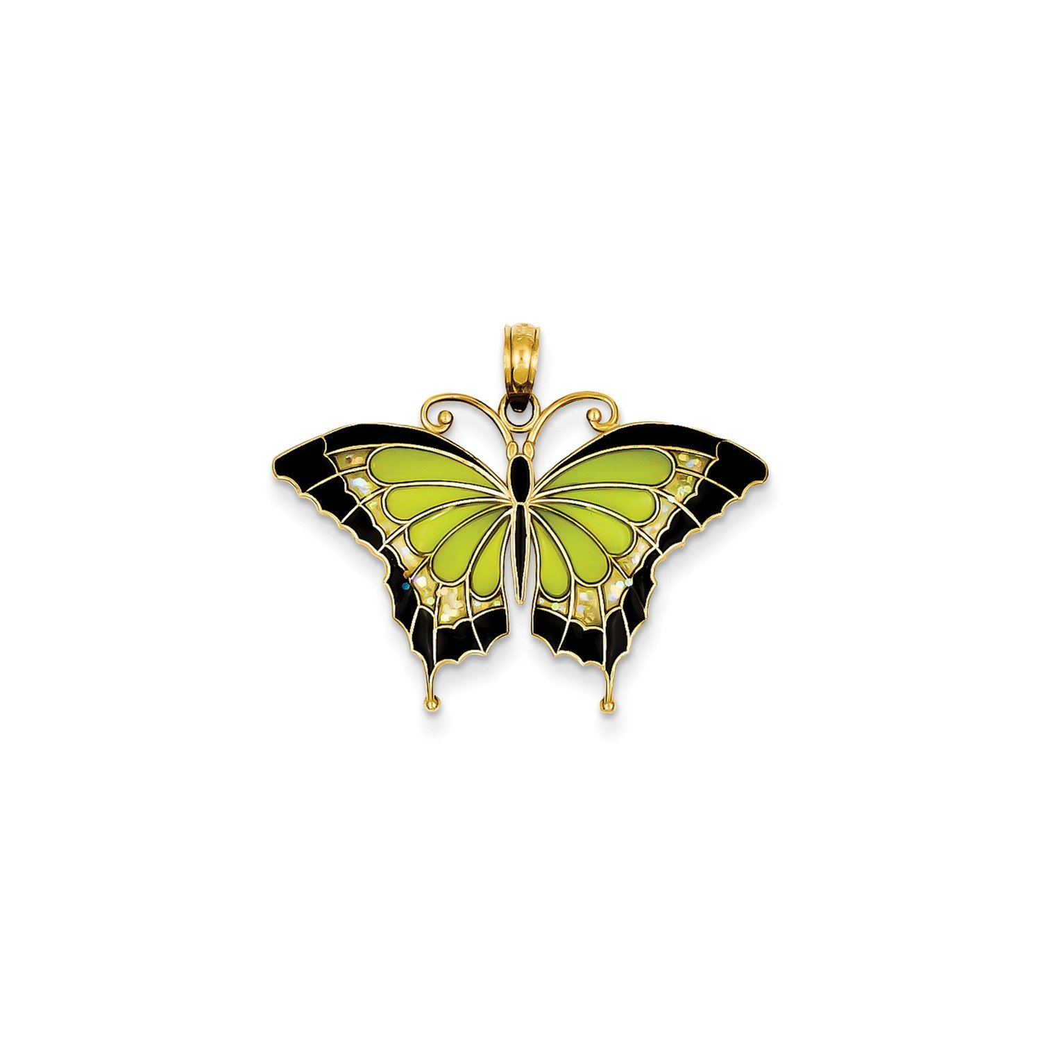 Roy Rose Jewelry 14K Yellow Gold Green Stained Glass Wings Butterfly Pendant with Acrylic by Roy Rose Jewelry