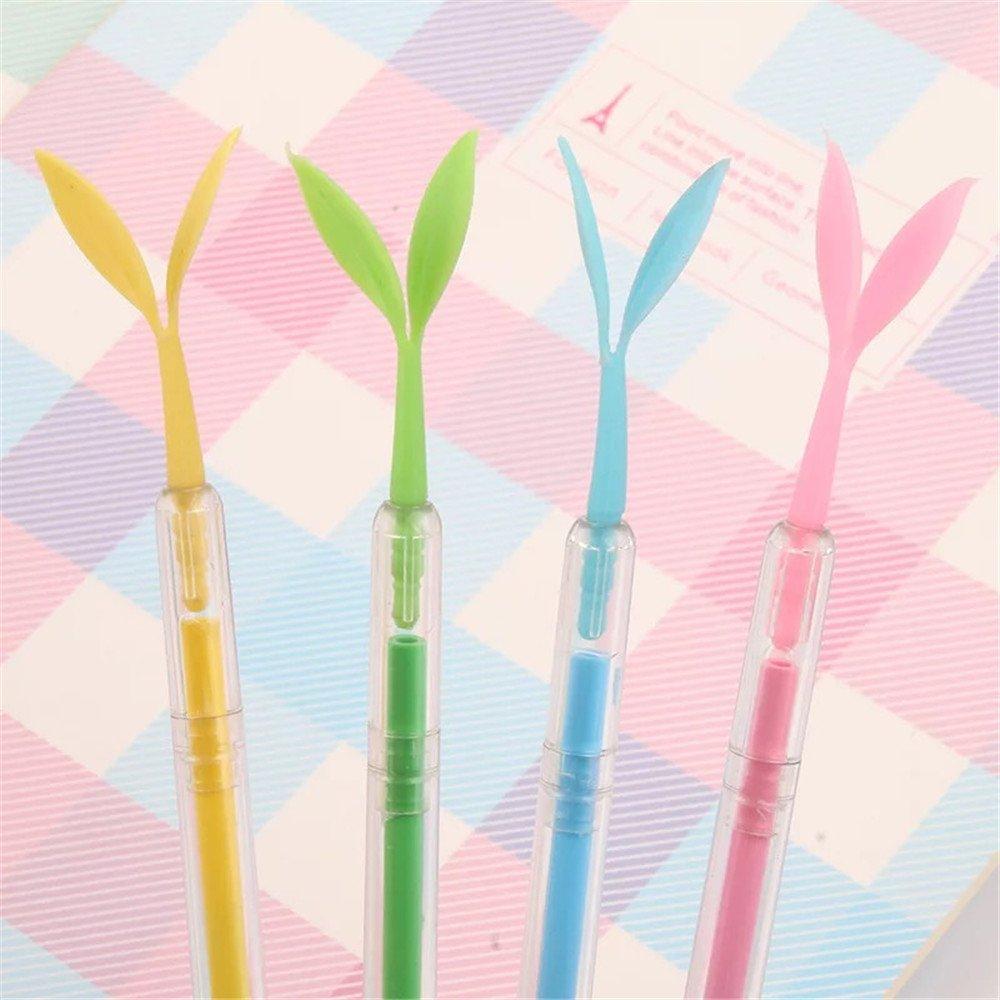 HIPGCC Cute Pea Sprouts Luminous Color Cartoon Dust Plug Gel Pen Ball Pen Kawaii Stationery Zakka Office Material Escolar School Supplies(Colorful) (Sprouts Luminous)