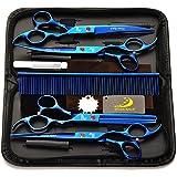 """4Pcs / Set Peluquería profesional peluquería tijeras Tijeras de peluquería Kit de herramientas electrochapado acabado con peine para Haircut Hair Styling Pet Grooming 7.0 """"- Azul"""
