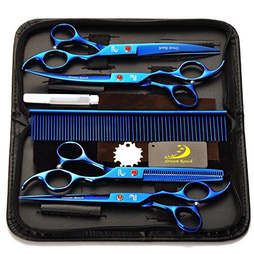 4Pcs / Set Salon professionnel Barber Ciseaux Ensemble de ciseaux de coiffeur Coffret à outils Finition électrolytique avec peigne pour coiffure Coiffure Toilettage pour animaux 7.0 - Bleu SymbolLife