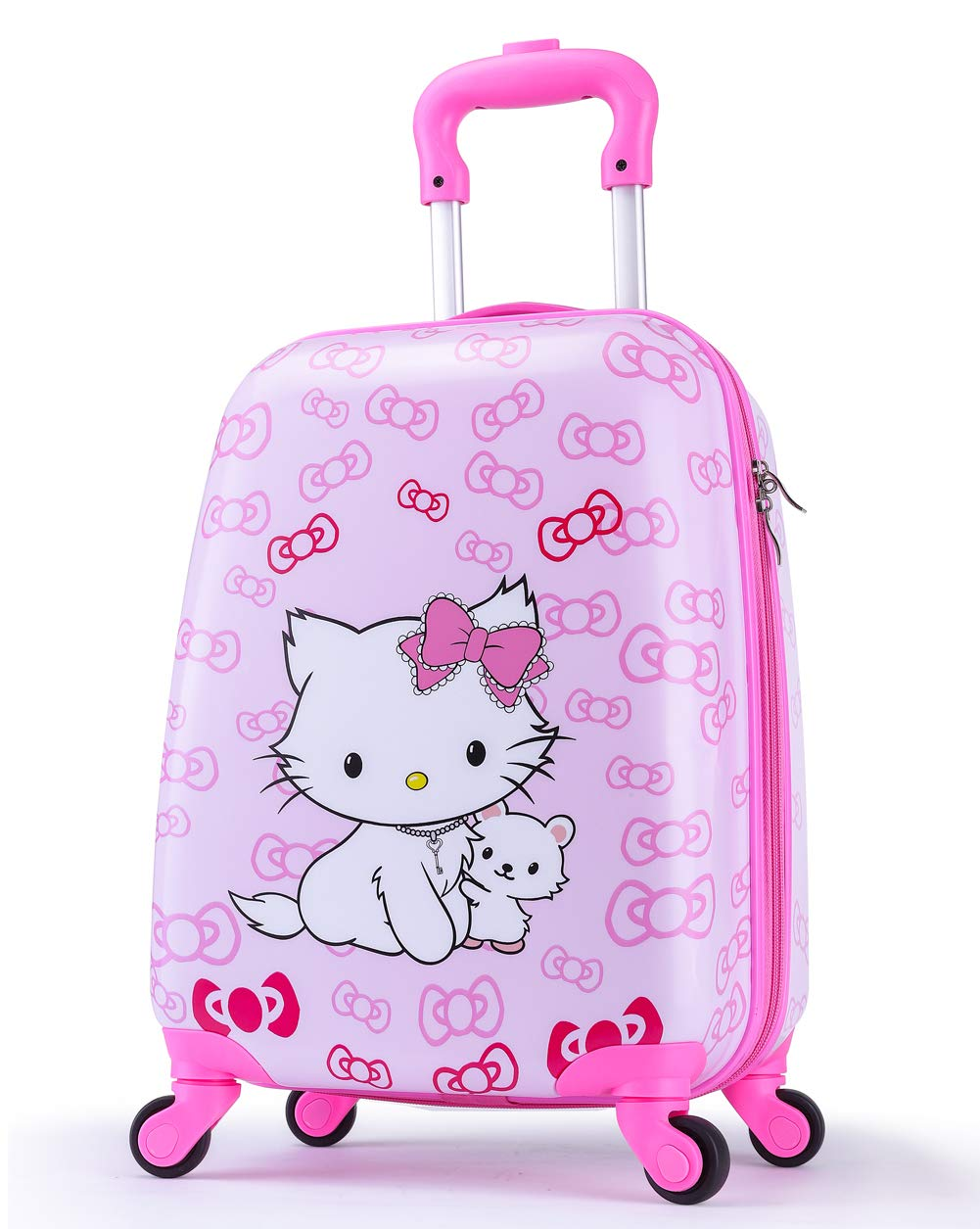 Girls Suitcase Hardshell Spinner Wheels - Kids Luggage 18 inch Carry On Bowknot Cat Travel Trolley LeLeTian