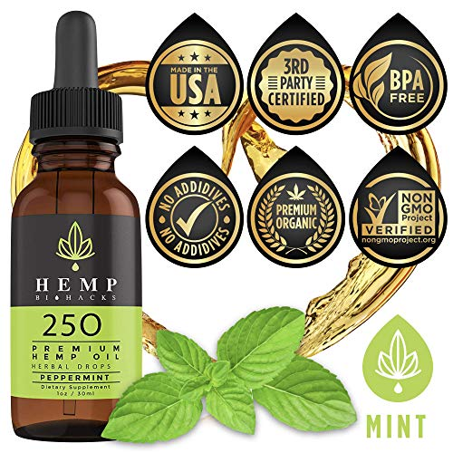 Hemp BioHacks Ultimate Organic Oil Drops for Joint & Back Pain Relief, Anxiety, Insomnia & Stress - Natural Anti Inflammatory - Supports Relaxation, Sports Recovery & Sleep 250mg 1oz/30ml