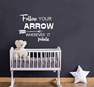 Your Arrow Wherever it Points Wall Decal Quote Follow Vinyl Sticker Decals Quotes Feather Arrows Wall Decal Quote Nursery Decor Art