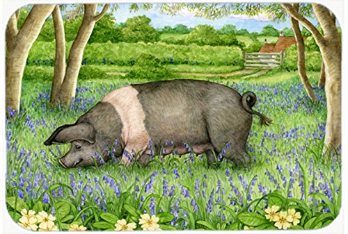 20 H x 30 W Carolines Treasures CDCO0377CMTPig In Bluebells by Debbie Cook Kitchen or Bath Mat Multicolor