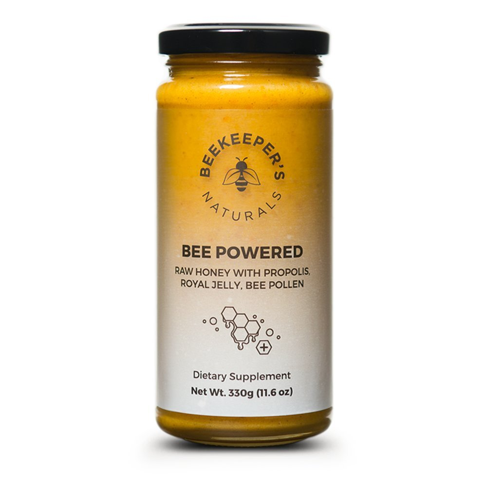 Bee Powered by Beekeeper's Naturals | Royal Jelly, Bee Pollen, Bee Propolis in Raw Unfiltered Honey for Natural Energy | Hive Superfood Complex for Immunity, Cognitive and Allergy Support