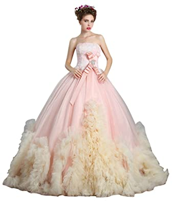 Amazon.com: Beauty-Emily Strapless Ball Empire Lace Puffy Tulle ...
