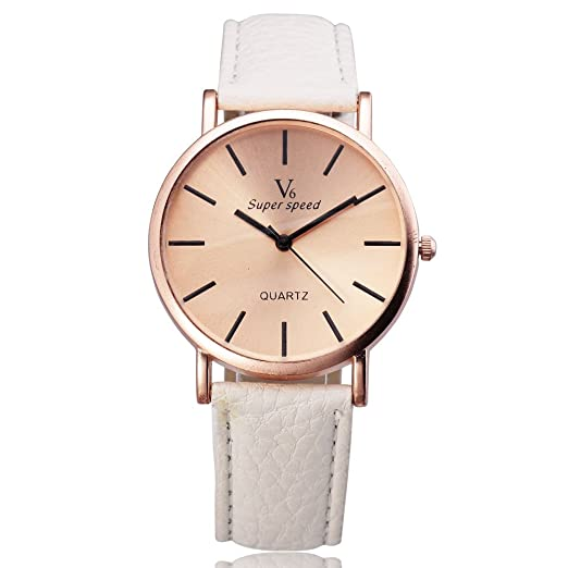 New Arrive Men Women Unisex Watches V6 Quartz Round Dial Fashion Leather Female Wristwatch watch hot