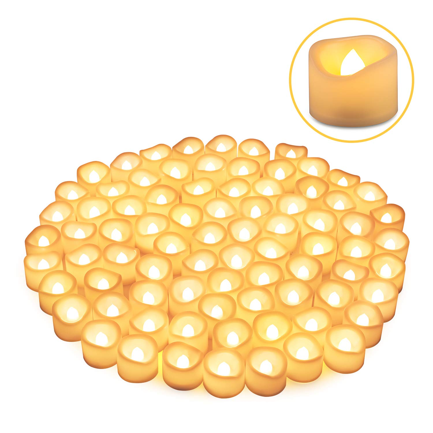 LED Tea Lights Candles, Kohree Flameless Candles Battery Operated LED Candles, Flickering Tealight Candles, Warm White, Pack of 24 (80 Packs) by Kohree