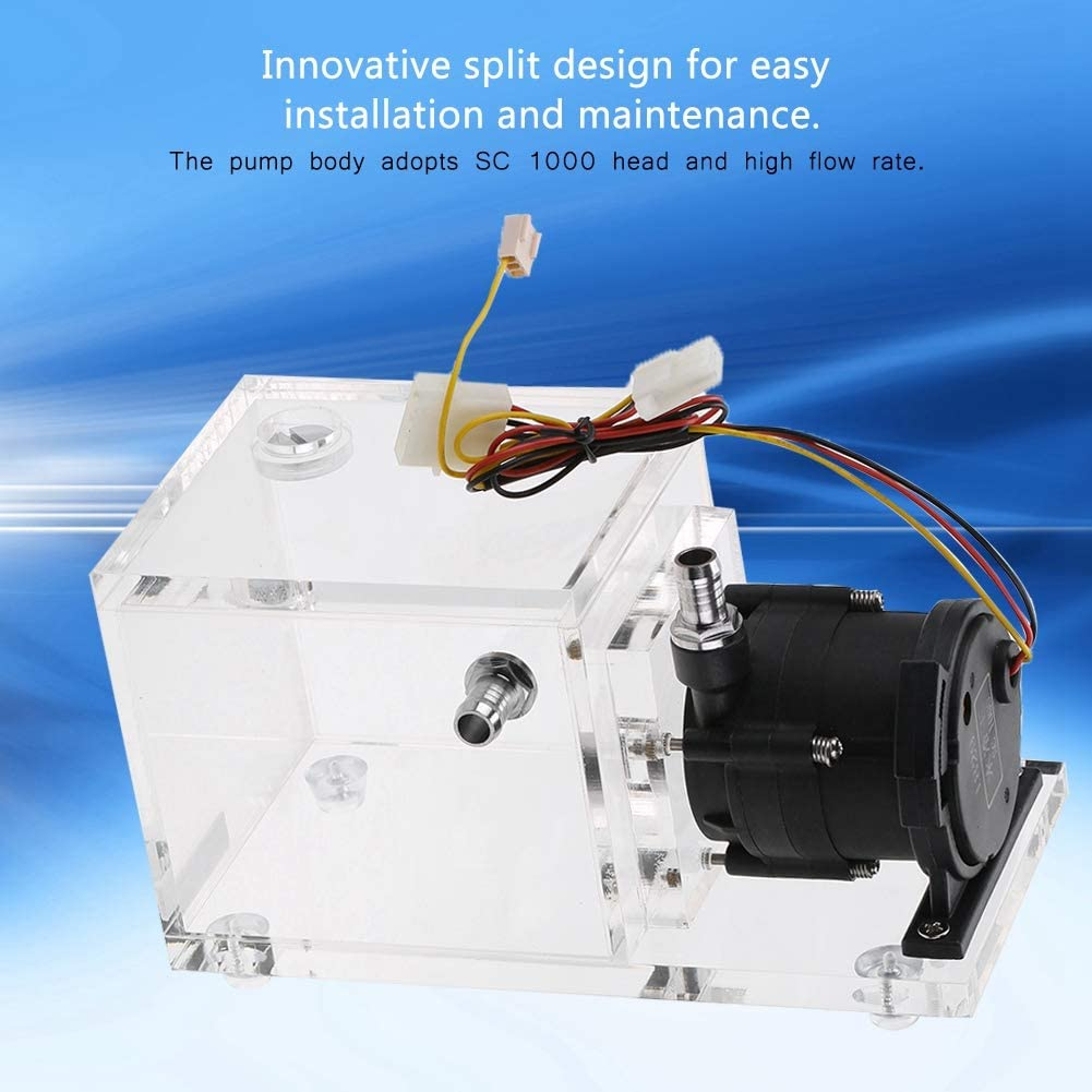 Wendry PC Water Cooling Tank Low Noise Water Tank Integrated Kit 1200L//H Acrylic Water Cooling Tank with Manual Adjustment Knob 890ML PC Cooled Water Pump