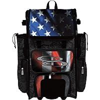 "Boombah Rolling Superpack 2.0 Baseball/Softball Gear Bag - 23-1/2"" x 13-1/2"" x 9-1/2"" - Black Ops Black/Royal Blue/Red…"