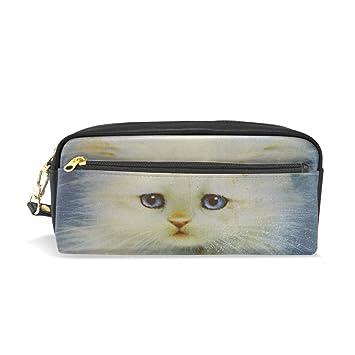 Estuche para lápices, Pussy Cat Estampado Viaje Maquillaje Bolsa Gran Capacidad Impermeable Cuero 2 Compartimentos