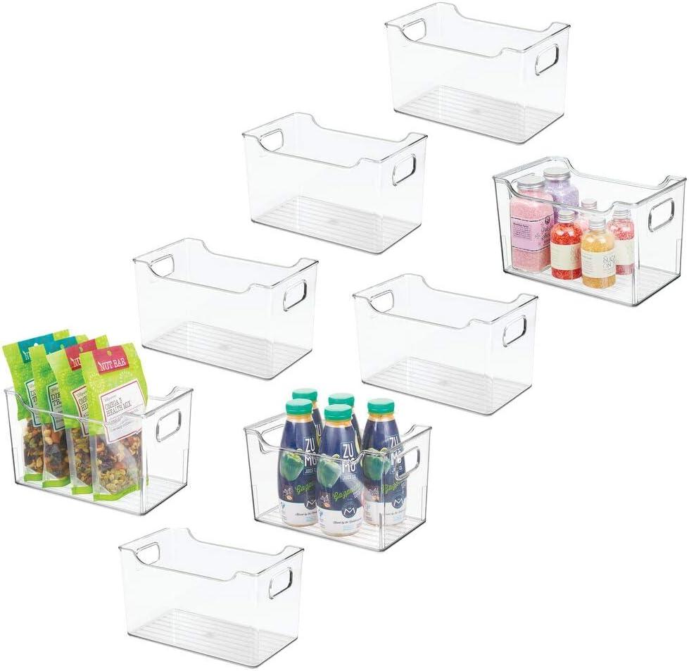 "mDesign Plastic Kitchen Pantry Cabinet, Refrigerator or Freezer Food Storage Bin with Handles - Organizer for Fruit, Yogurt, Snacks, Pasta - BPA Free, 10"" Long, 8 Pack - Clear"