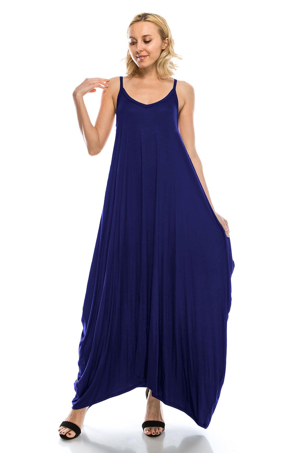 J Doe Style Women's Solid Loose Fit Harem Boho Spagetti Strap Maxi Full Dress(Size :S-5X), 5X, Navy by J Doe Style