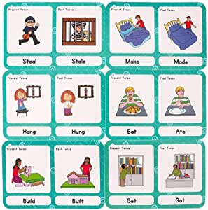 SANCENT 28 Pcs Irregular Verbs Cards- Learning Picture