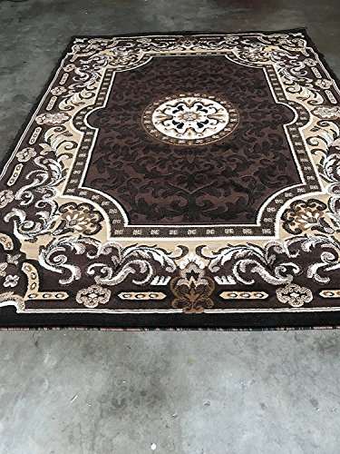 Kingdom Traditional Persian Area Rug Chocolate Brown Design D123 (8 Feet X 10 ()