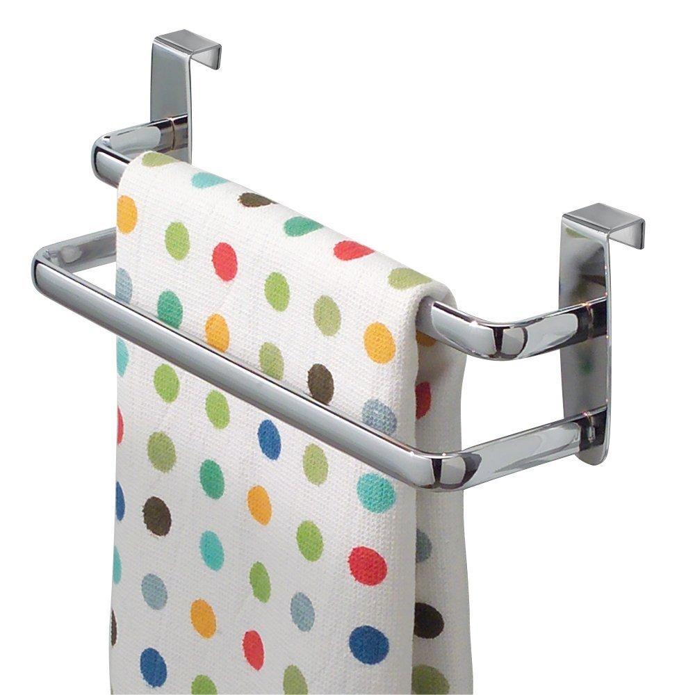 InterDesign Axis Toallero para paños de cocina, doble perchero para puerta en metal, toallero sin taladro con dos barras, plateado: Amazon.es: Hogar