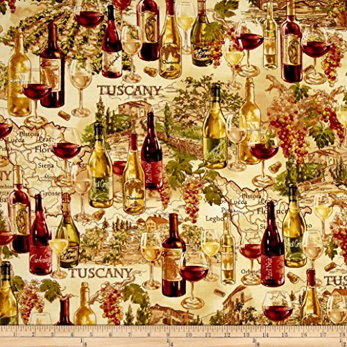 Tan Beverage (Timeless Treasures Vineyard Map Tan Fabric By The Yard)