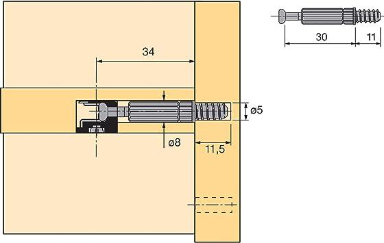 secotec vas146 Hettich excéntrico Muebles Conector Rastex 15 ...